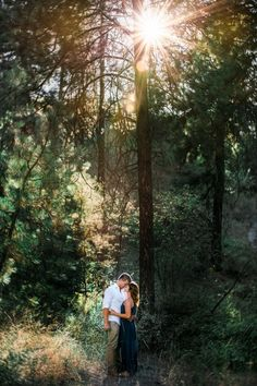 Golden Hour Forest Engagement Photo