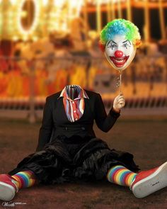 decapitated clown body with clown face balloon head