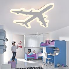 Bring the wow factor with these custom LED flushmount kids lights. In various themes like sports and the moon and stars, each one is available in several sizes and warm or white light. Kids Ceiling Lights, Dimmable Led Ceiling Lights, Home Ceiling, Kids Lighting, Unique Lighting, Ceiling Lamp, Interior Ceiling Design, Bedroom False Ceiling Design, Airplane Lights