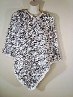 Women Blue Tan Off White Crochet Knit Chunky Poncho Sweater Handmade | eBay