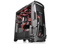 Computer Gaming Case PC USB 3.0 Black Mid Tower Hell Fire Power Supply Cover New