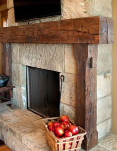Our rustic fireplace mantels from reclaimed barn beams are sanded and custom finished to match your desired fireplace mantel decor. Reclaimed Wood Fireplace, Rustic Fireplace Mantels, Wood Mantels, Farmhouse Fireplace, Home Fireplace, Fireplace Remodel, Fireplace Surrounds, Fireplace Design, Fireplace Facade