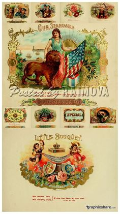 vintage cigar labels | Advertising (vintage, retro) Cigar labels