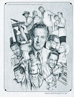 "William Holden,illustration from the book ""Hombres de Hollywood"".Nacho Castro.Diábolo ediciones"