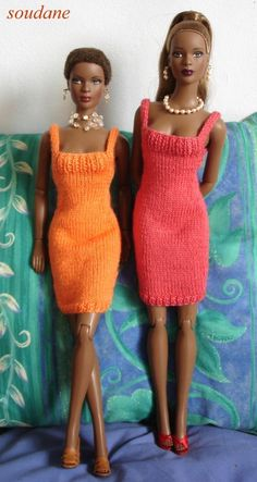 "Knitted shift dresses for Tyler Wentworth and other 16"" fashion dolls."