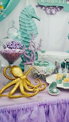 Bizzie Bee Creations 's Birthday / Mermaids - Photo Gallery at Catch My Party Mermaid Theme Birthday, Little Mermaid Birthday, Little Mermaid Parties, The Little Mermaid, Birthday Party Themes, Birthday Party Centerpieces, Birthday Celebration, Little Mermaid Centerpieces, Little Mermaid Decorations