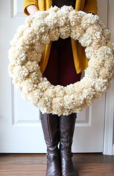 How to Make a Yarn Pom-Pom Wreath from MomAdvice.com                                                                                                                                                                                 More