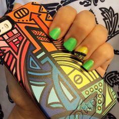 My Sunday #mani  match s my new #iPhone #cellphone case #otterbox  #chinaglaze #neon #green #yellow #mattefinish #polish #manicure #nailpolish #nails #glowinthedark #blacklightreflective #smyle4mee