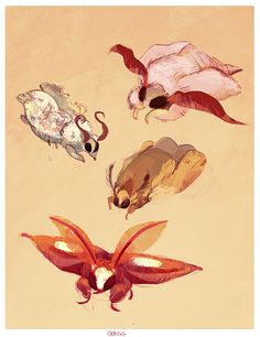 small moth babies by cerigg Creature Drawings, Animal Drawings, Cute Drawings, Cute Creatures, Fantasy Creatures, Mythical Creatures, Cute Moth, Mothman, Dibujos Cute