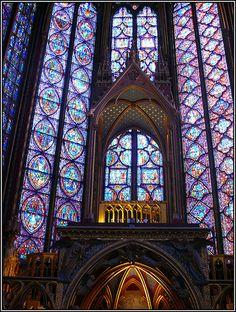 Stained Glass Windows in Eglise Sainte Chapelle, Paris