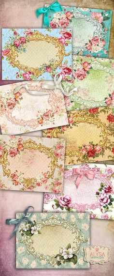 Victorian Flowers Shabby Chic Digital Collage Sheet + FREE Gift Tags / Download VIGNETTES, Printable Note Cards Vintage Frames, Scrapbooking