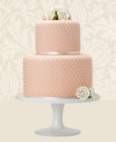 Vintage Style Wedding Cakes:  Without the topper it would be a nice baby shower cake - adjust color for theme or gender.