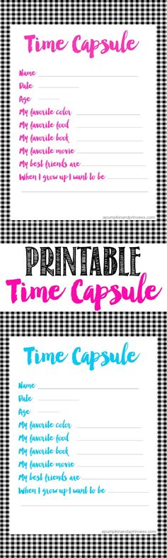 Printable Time Capsule For Kids from MichaelsMakers A Pumpkin And A Princess