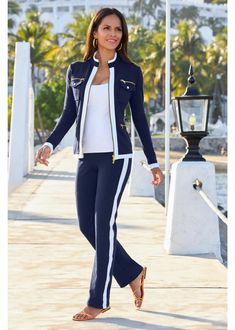 Chic Lounge Set in 3 Colors | Sporty can be striking and sexy in this Sport Warm Up Set styled with a two-way gold-tone zip jacket, zip pockets and slimming, elastic-waist pant. Transition from day to night with chic style with this chic Loungewear Set. Where to Wear: Airport Outfit | Cruise Outfit | Lunch Outfit | Vacation Outfit | Lounge Outfit | Boston Proper Clothing | Boston Proper Outfit | Classy Outfit | Chic Outift | two piece set | coordinated outfit | Navy Lounge Set Classy Wedding Guest Dresses, Cruise Outfits, Traveling Outfits, Sport Outfits, Athleisure Outfits, Elastic Waist Pants, Loungewear Set, Summer Fashion Trends, Lounge Wear