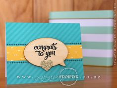 """One of four card designs in the Tin of Cards Project Kit.  Includes instructions, printed tin and file tab dividers plus card bases, envelopes and accents for 16 cards, 4 each of 4 designs.  Tin size: 6-3/4"""" x 4"""" x 5-3/8"""" (17.2 cm x 10.2 cm x 13.7 cm).  Complete the kit using the Tin of Cards stamp set (stamps, ink and adhesive sold separately).  www.creativestamping.co.nz 