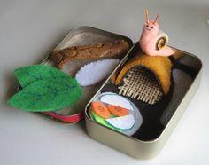 Snail miniature felt Altoid tin play set habitat by wishwithme
