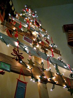 wood scrap christmas tree. cute idea for home made ornaments from kids