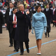 The Parade  Donald gave a thumbs up to supporters during the inaugural parade as he walked next to his wife Melania Trump.
