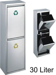 30 l Edelstahl-Abfalleimer, 2 x 15 Liter Mülltrennung, übereinander