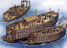 """Warships of the ataka bune and seki bune types are being used during the first battle of Kizugawaguchi between Oda Nobunaga and Mori Terumoto, 1576"", Wayne Reynolds"