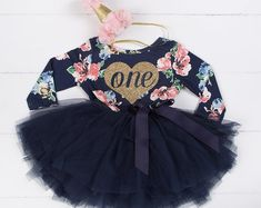 First Birthday outfit girl with heart and navy blue tutu for girls or toddlers Floral dress custom dress long sleeve - Birthday Dresses - Ideas of Birthday Dresses Tutu Bleu, Blue Tutu, Frilly Dresses, Girls Dresses, Flower Girl Dresses, Floral Dresses, Flower Girls, First Birthday Outfit Girl, Birthday Dresses