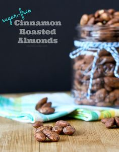 These sugar free cinnamon roasted almonds are a guilt-free, protein packed snack. They're super simple to make and you'll never miss the sugar coating, thanks to the great cinnamon flavor! Low Carb Desserts, Low Carb Recipes, Snack Recipes, Dessert Recipes, Cooking Recipes, Healthy Desserts, Keto Snacks, Yummy Recipes, Healthy Recipes