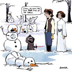 A Disney Artist Mashed Up Calvin and Hobbes With The Force Awakens - Ideas of Star Wars Kylo Ren - A Disney Artist Mashed Up Calvin and HobbesWith The Force Awakens Calvin Und Hobbes, Calvin And Hobbes Comics, Calvin And Hobbes Snowmen, Star Wars Meme, Bd Star Wars, Star Wars Art, Star Trek, Star Wars Comics, Walt Disney