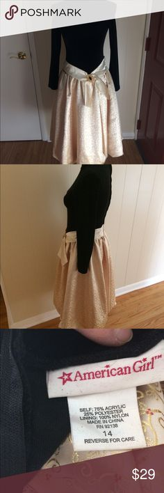 American Girl Dress Size 14 American Girl Christmas Dress Size 14 Black Velvet Top with gold skirt attached. American Girl Dresses Formal
