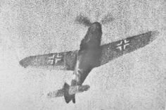 A Bf 109G caught in a Spitfire's gun camera over Italy.