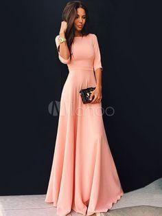 Rosa Langes Kleid mit halbärmel