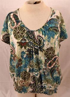 Beautiful No Boundaries Ladies Plus Size 2X 18W-20W Short Sleeve Paisley Blouse #NoBoundaries #Blouse