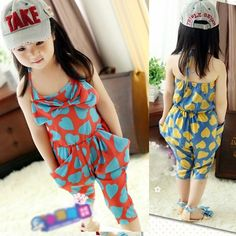 free harem pants pattern for kids | Kids Harem Pants Chiffon Heart Pattern One Peice Jumpsuit Cropped ...