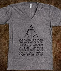 I would love love love love to get one of these for Christmas. This type of Harry Potter shirt, or one with all the defense against the dark arts teachers names.