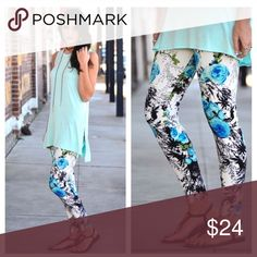 JUST ARRIVED! Fun Spring Leggings Fun Spring Leggings have a B&W/turquoise floral print and are a super soft brushed knit style. One size fits most! (Fits sizes Small - Large or sizes 2 - 12 comfortably.) 92% polyester, 8% spandex. Bundle with other items to save! Infinity Raine Pants Leggings