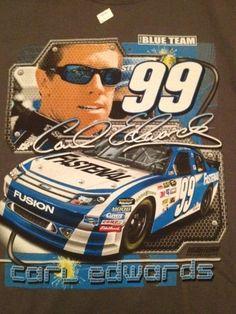 """Carl Edwards T Shirt NWOT Size Men Large NASCAR 99 """"The Blue Team"""""""