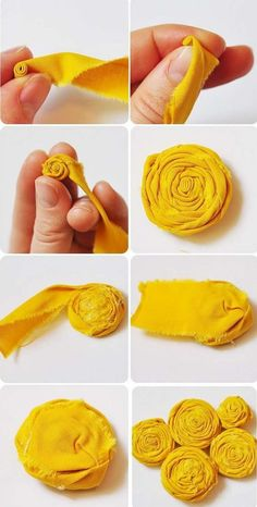 Sewing Fabric Flowers Rolled fabric flower - how to make a fabric rosette Rolled Fabric Flowers, Fabric Rosette, Fabric Flower Tutorial, Cloth Flowers, Fabric Ribbon, Felt Flowers, Fabric Art, Diy Flowers, Flower Fabric