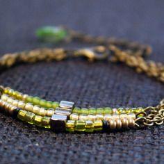 Bracelet bohème trois rangs vert