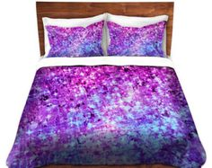 RADIANT ORCHID GALAXY, Fine Art Duvet Covers, Queen Twin Size, Ombre Home Decor Bedding Children Adult Ocean Waves Purple Blue Bedroom
