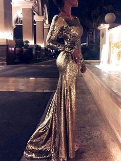 6efd33600762 Stylish Long Sleeve Mermaid Maxi Dress
