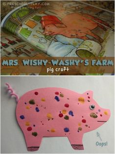 Wishy-Washy's Farm Pig Craft for preschool, pre-k, and kindergarten. An engaging extension activity to the book Mrs. Wishy Washy's farm by Joy Cowley. Preschool Farm Crafts, Farm Animals Preschool, Farm Animal Crafts, Preschool Art Projects, Pig Crafts, Farm Activities, Fall Preschool, Science Projects, Book Crafts