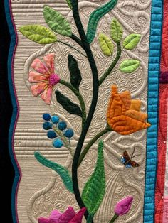 Watercolor quilt - My Secret Garden Quilt by Margaret Solomon Gunn Wins Place Movable Machine Quilting – Watercolor quilt Wool Applique Patterns, Hand Applique, Applique Quilts, Quilt Patterns, Applique Ideas, Longarm Quilting, Free Motion Quilting, Watercolor Quilt, Machine Quilting Designs
