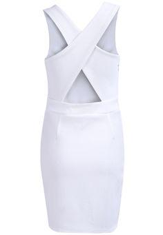 Shop White Round Neck Sleeveless Cross Back Dress online. Sheinside offers White Round Neck Sleeveless Cross Back Dress & more to fit your fashionable needs. Free Shipping Worldwide!