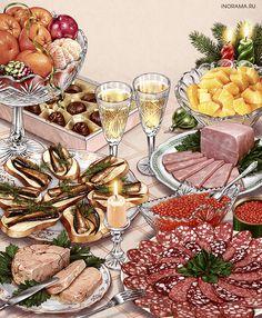 The artist-illustrator Inna Kuzubova Retro Recipes, Vintage Recipes, Vintage Food, Cute Food, Good Food, Food Painting, Food Drawing, Aesthetic Food, Food Illustrations