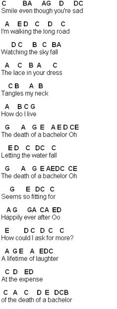Learn Piano Songs Flute Sheet Music: Death Of A Bachelor Piano Sheet Music Letters, Clarinet Sheet Music, Violin Music, Music Sheets, Music Music, Music Stuff, Ukulele Songs, Piano Songs, Band Nerd