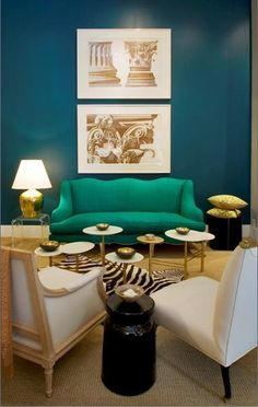 Antony Todd - perfect blue wall. More art, solid topped gold and marble coffee table for me. I like the vibe, though.