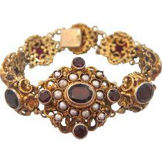 Bohemian Garnet bracelet made of gilt silver, 19th century from akaham on Ruby Lane