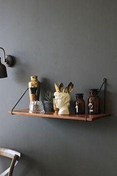 Rockett St George - Dark Wood Shelf With Black Iron Hangers