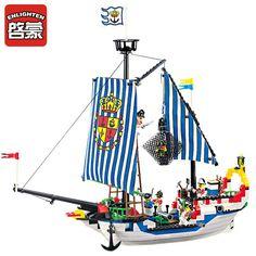305 Enlighten Pirate Series Pirate Ship Royal Warship Model Building Blocks DIY Action Figure Toys For Children Compatible Legoe #Affiliate