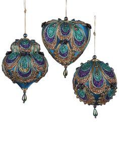 Kurt Adler Set of 3 Peacock Ornaments                                                                                                                                                                                 More