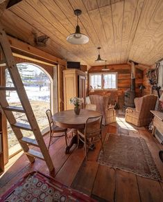 """interior-design-home: """"I'd trade my spacious apartment for this any day of the week: I'll just buy an acre of land, park it, grow my own veggies and go fully off grid. Tiny Cabins, Tiny House Living, Cozy Place, Tiny House Design, My Dream Home, Home Interior Design, Small Spaces, Decoration, Living Spaces"""